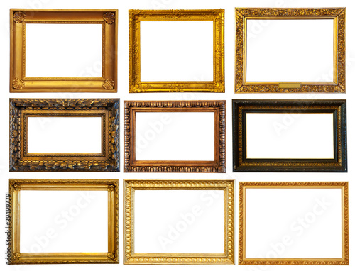 Set of  horizontally gold frames