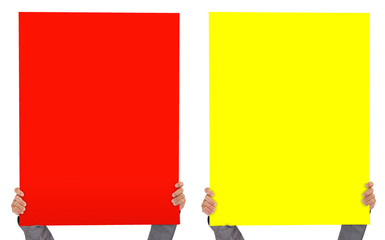 hands holding white empty paper red and yellow