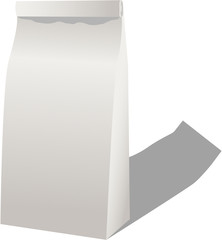 White paper lunch bag isolated on white