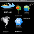 Extreme weather icons set isolated on black