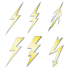 Gold Lightning bolt with silver margins set on white