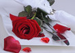 Romantic place setting with red rose, silverware and hearts