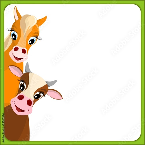 cute cow and horse in green frame