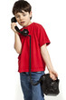 portrait of little boy on the phone,