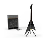 Electric guitar and combo guitar amplifier with speaker cabinet