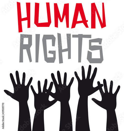 Human rights with hands up
