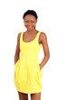 Cute smiling african girl in bright summer dress