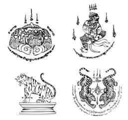 Thai Tattoo Ancient. Vector template © kromkrathog