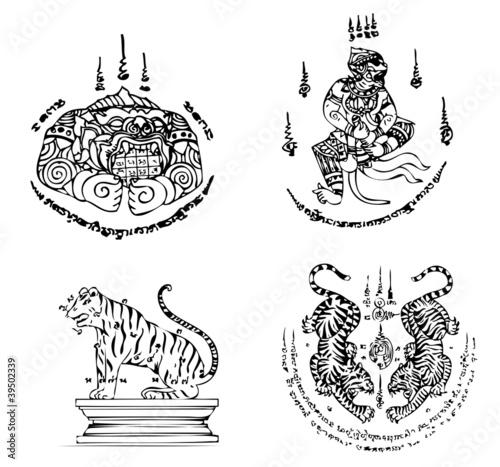 Vettoriale: Thai Tattoo Ancient. Vector template