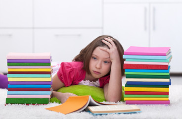 Young girl tired learning