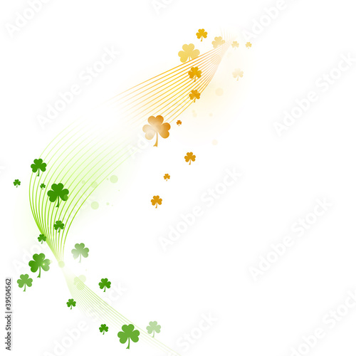 Wavy pattern with shamrocks in green and orange on white