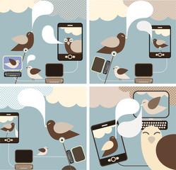 Social Media - set of concept illustrations