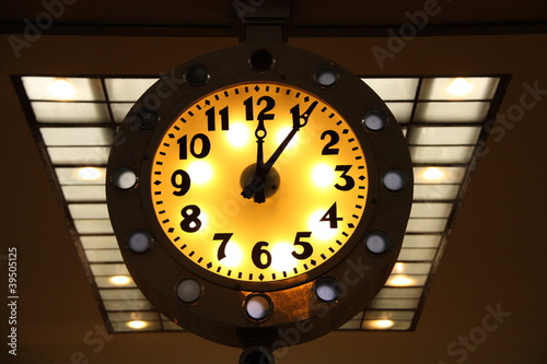 Luminous yellow clock face