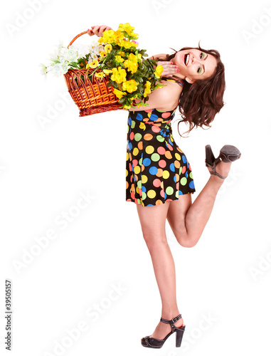 Young woman with wild spring flower.
