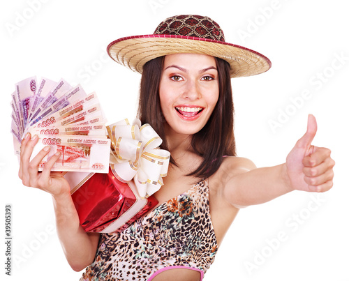 Woman with  money Russian rouble and gift box.