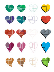 Abstract colorful heart collection