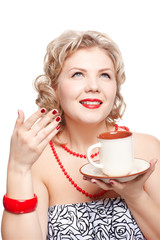 blonde woman with cup