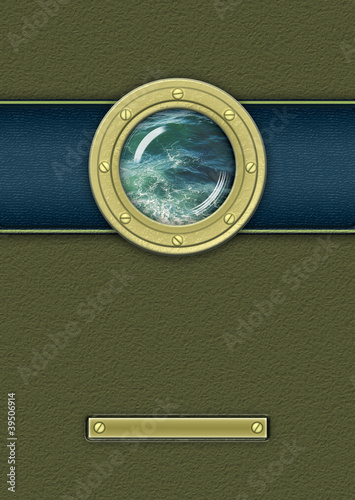 Brass porthole. Ship window with seascape in ocean.