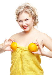 blonde woman with orange