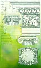 Blueprint - hand draw sketch ionic architectural order & green b