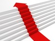 red arrow steps to the top of success ladder