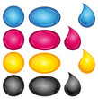 CMYK CMJN buttons and droplets