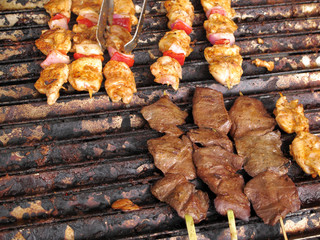Chicken and meat brochettes