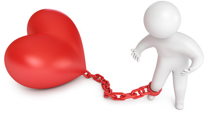 Man chained to the heart, love prisoner, marriage
