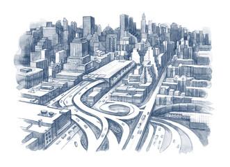 urban city plan view