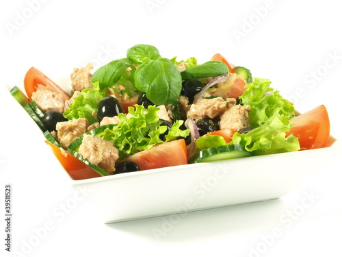 Tuna salad on isolated background