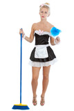 Young sexy maid with broom and duster poster