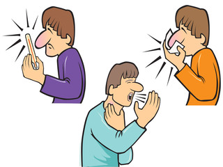 blowing nose-fever-coughing man