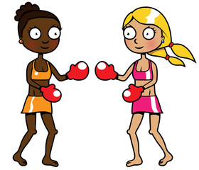 Two girls of different ethnicity boxing