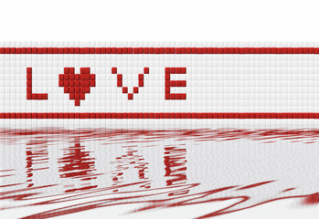 Love text on mosaic wall