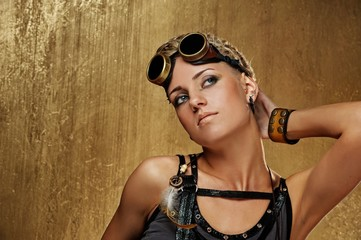 Close-up portrait of a steam punk girl