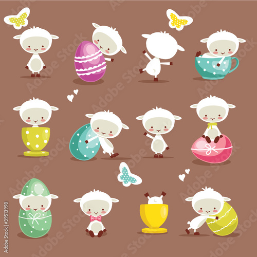Cute easter character set, vector illustration