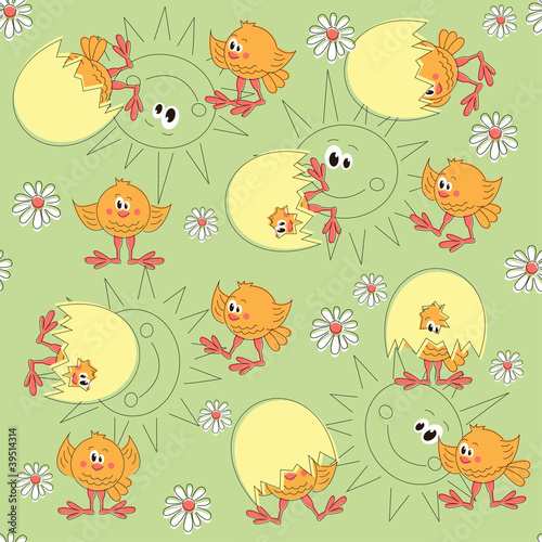 Easter pattern seamless with cartoon chicken and sun