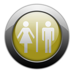 "Yellow Metallic Orb Button ""Restrooms"""