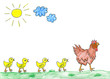 Hen with cute chickens, child's drawing.