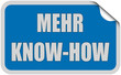 Sticker blau eckig curl oben MEHR KNOW-HOW