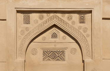 Ancient designs on the top of the door, Riffa fort Bahrain