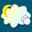 Cute Card with Sheep Clound and Moon