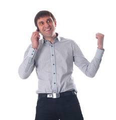 Young businessman talking on cell phone