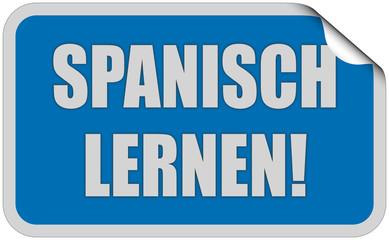 Sticker blau eckig curl oben SPANISCH LERNEN