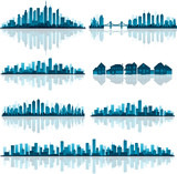 Fototapety Blue cityscape silhouette with reflection