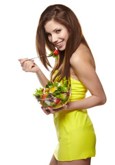 happy healthy woman with salad
