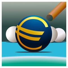 Symbol of Euro and billiard