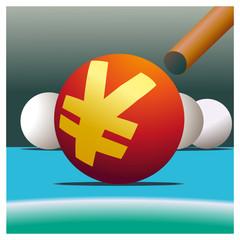 Symbol of Yuan  and billiard