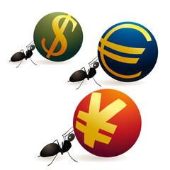 Three ants pushing Yuan Euro and Dollar symbols