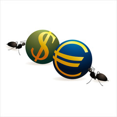 Two ants pushing Dollar and Euro  symbols against each other
